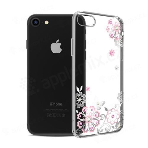 Kryt KAVARO pro Apple iPhone 7   8 - s kamínky Swarowski - plastový -  květiny 4ad650543f8