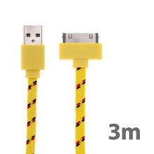 Synchronizační a nabíjecí kabel s 30pin konektorem pro Apple iPhone / iPad / iPod - tkanička - plochý žlutý - 3m