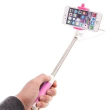 Selfie tyč teleskopická - kabelová spoušť - růžová