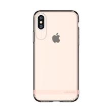 Kryt USAMS pro Apple iPhone X - gumový - růžový / průhledný s matným pruhem