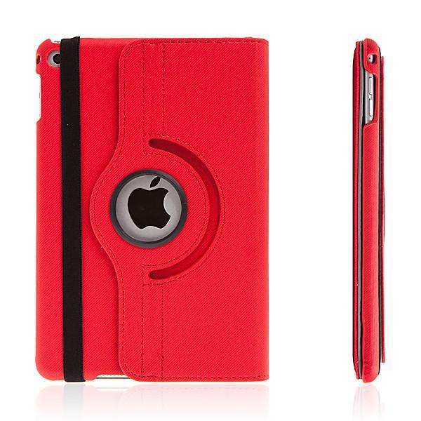 Pouzdro / kryt pro Apple iPad mini 4 - 360° otočný držák a prostor na doklady - červené