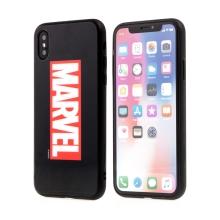 Kryt MARVEL pro Apple iPhone Xs Max - sklo / guma - černý