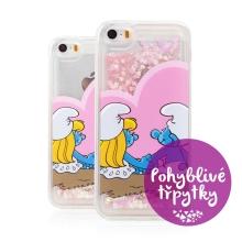 Kryt ŠMOULOVÉ pro Apple iPhone 5 / 5S / SE - pohyblivá srdíčka - gumový - zamilovaní Šmoulové