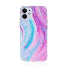 Kryt BABACO pro Apple iPhone 12 mini - gumový - mramor - růžový / modrý