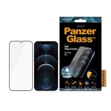Tvrzené sklo (Tempered Glass) PANZERGLASS pro Apple iPhone 12 Pro Max - Case Friendly - antibakteriální - černý rámeček - 0,4mm