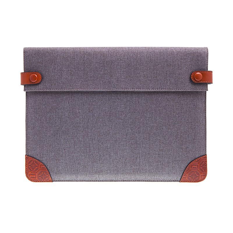 Pouzdro / obal ICARER pro Apple iPad Pro 12,9 / 12,9 (2017) - látkové s koženými prvky - šedé