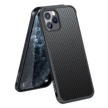 Kryt SULADA pro Apple iPhone 11 Pro - gumový / kovový - karbonová textura - průhledný - černý