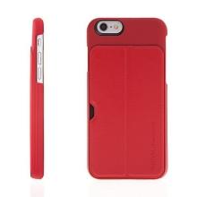 Plastový pogumovaný kryt REMAX Wing Series s funkcí stojánku a prostorem na platební kartu pro Apple iPhone 6 / 6S - červený