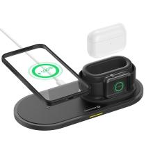 3v1 nabíjecí stanice / stojánek DEVIA pro Apple iPhone + AirPods + Watch - černá