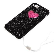 Kryt pro Apple iPhone 7 / 8 - gumový - černý - třpytky a srdce