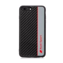 Kryt AUDI Sport pro Apple iPhone 7 Plus / 8 Plus - karbon / černý + červený nápis