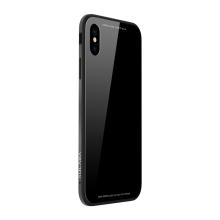 Kryt SULADA pro Apple iPhone Xr - kov / sklo - černý