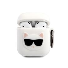 Pouzdro KARL LAGERFELD pro Apple AirPods - kočka Choupette - silikonové - bílé