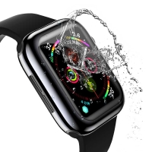 Kryt USAMS pro Apple Watch 40mm Series 4 / 5 / 6 / SE - 360° ochrana - gumový - průhledný / černý
