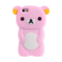 Kryt pro Apple iPhone 5 / 5S / SE - silikonový - medvěd - růžový