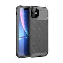 Kryt pro Apple iPhone 11 - karbonová textura - gumový - černý