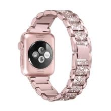 Řemínek pro Apple Watch 40mm Series 4 / 5 / 6 / SE / 38mm 1 / 2 / 3 - s kamínky - kovový - Rose Gold růžový