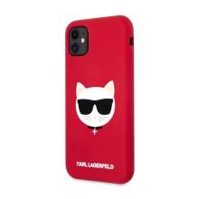 Kryt KARL LAGERFELD pro Apple iPhone 11 - hlava Choupette - silikonový - červený