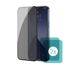 Tvrzené sklo (Tempered Glass) BASEUS pro Apple iPhone 12 / 12 Pro - přední - 2,5D - privacy - 0,3mm - 2 kusy
