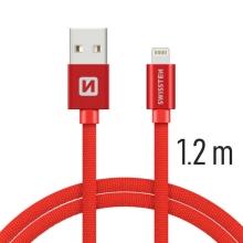 Synchronizační a nabíjecí kabel SWISSTEN - MFi Lightning pro Apple zařízení - tkanička - červený - 1,2m