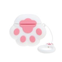 Pouzdro / obal pro Apple AirPods - kočičí tlapka - silikonové - růžové / bílé