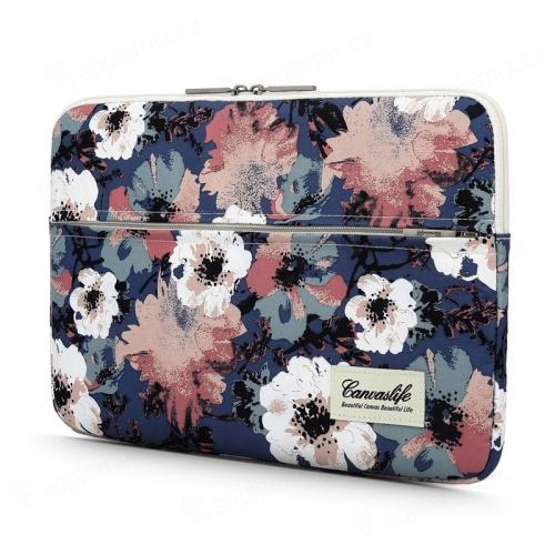 """Pouzdro se zipem CANVASLIFE pro Apple MacBook Air 13"""" / Pro 13"""" - postranní kapsa - květiny"""