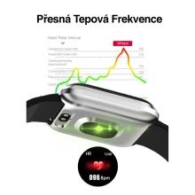 Fitness chytré hodinky - tlakoměr / krokoměr / měřič tepu - Bluetooth - vodotěsné - černé