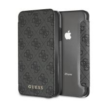 Pouzdro GUESS G Book pro Apple iPhone Xr - umělá kůže / plastové - šedé / průhledné