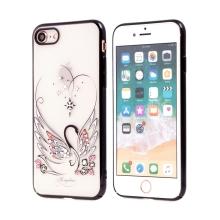 Kryt KINGXBAR pro Apple iPhone 12 / 12 Pro - s kamínky - gumový / plastový - květy meruňky