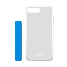 Kryt MOMAX pro Apple iPhone 7 Plus / 8 Plus - gumový - průhledný + modrý flexibilní stojánek