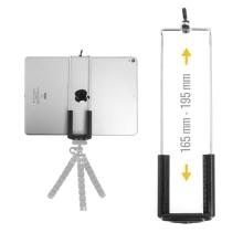 Univerzální nastavitelný držák na stativ / selfie tyč pro Apple iPad a další zařízení - šířka 16,5 - 19,5cm - černý