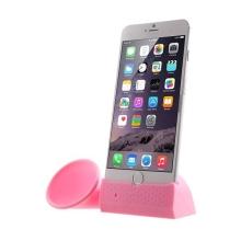 Přenosný silikonový stojánek se zesilovačem zvuku pro Apple iPhone 6 Plus / 6S Plus / 7 Plus - růžový