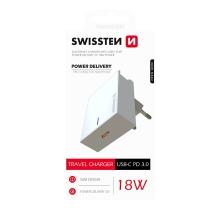 Nabíječka / EU adaptér SWISSTEN - USB-C Power Delivery - 18W - bílá