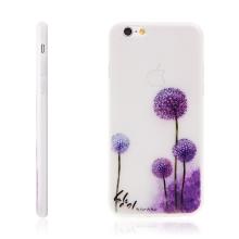 Kryt pro Apple iPhone 6 / 6S gumový - svítící ve tmě - fialové květy