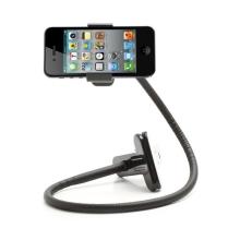 Univerzální 360° otočný kovový držák pro Apple a další zařízení s klipsnou a flexibilním ramenem včetně přísavky - černý