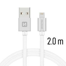 Synchronizační a nabíjecí kabel SWISSTEN - MFi Lightning pro Apple zařízení - tkanička - stříbrný - 2m