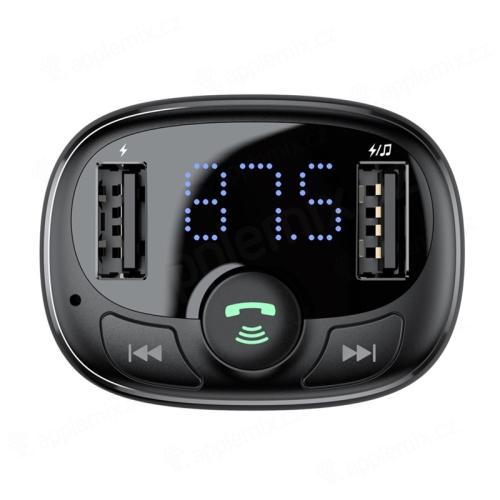 FM transmitter / vysílač BASEUS + autonabíječka 2x USB + Bluetooth 4.2 handsfree - černý