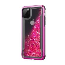 Kryt pro Apple iPhone 11 Pro - lesklý rámeček + pohyblivé třpytky - plastový / gumový - růžový