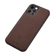 Kryt SULADA pro Apple iPhone 12 / 12 Pro - gumový / kovový - karbonová textura - průhledný