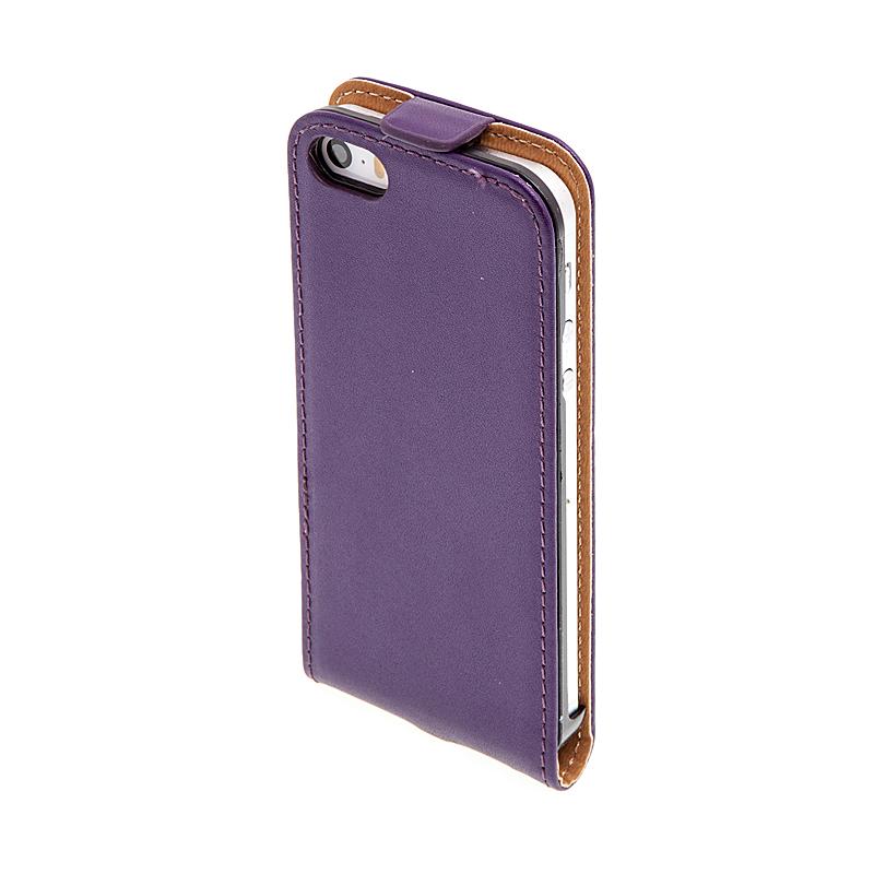 Flipové vyklápěcí pouzdro pro Apple iPhone 5 / 5S / SE s texturou kůže - fialové