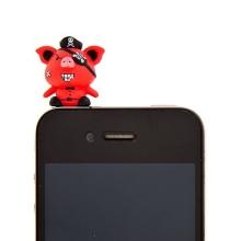 Antiprachová záslepka na jack konektor pro Apple iPhone a další zařízení - pirate pig - červená