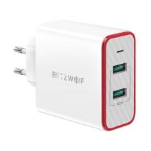 Nabíječka / EU napájecí adaptér Blitzwolf BW-PL3 - 2x USB - 36W QC 3.0 + LED dioda - bílý / červený