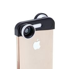 Multifunkční objektiv 3v1 pro Apple iPhone 5 / 5S / SE - 180° rybí oko / makroobjektiv / širokoúhlý objektiv