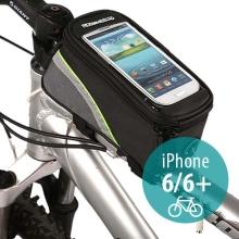 Sportovní pouzdro na kolo pro Apple iPhone 6 / 6S a zařízení vel. až 5,5 + úschovný prostor - černo-zelené s reflexním pruhem