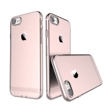 Kryt USAMS pro Apple iPhone 7 / 8 gumový / antiprachové záslepky - Rose Gold růžový průhledný