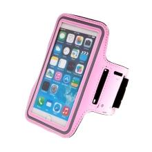 Sportovní pouzdro pro Apple iPhone 6 / 6s / 7 / 8 Plus a X / Xs / Xr - reflexní pruh - světle růžové