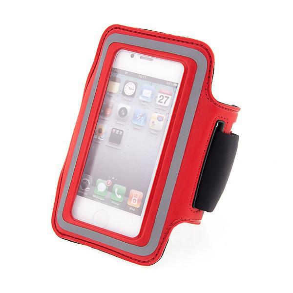 Sportovní pouzdro pro Apple iPhone 4 / 4S - červené s reflexním pruhem