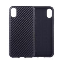 Kryt pro Apple iPhone Xr - gumový / umělá kůže - karbonová textura - černý
