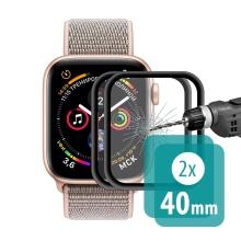 Tvrzené sklo (Tempered Glass) ENKAY pro Apple Watch 40mm Series 4 / 5 / 6 / SE - 3D - černé / čiré - 2 kusy