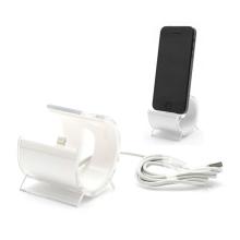 Designová dokovací stanice (dock) s Lightning kabelem pro Apple iPhone / iPod - bílá